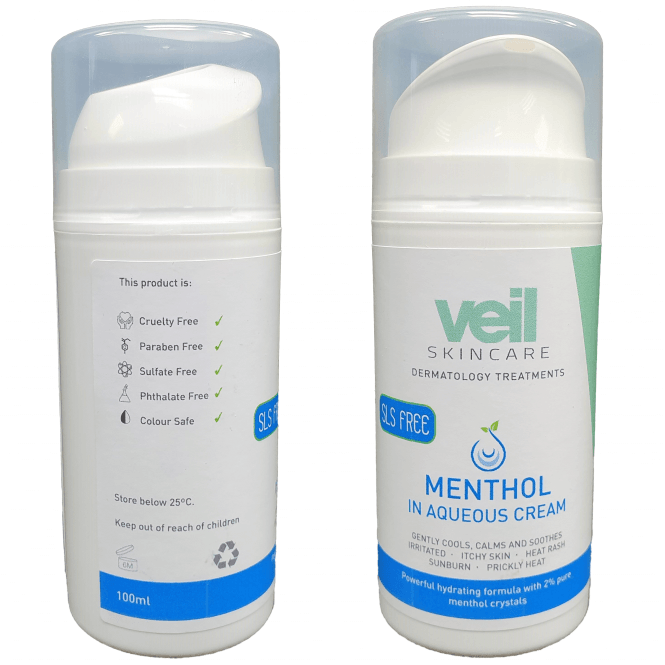 This is an image of Veil Menthol in Aqueous Cream, a moisturising product designed to cool and calm irritated and dry skin such as eczema and psoriasis.